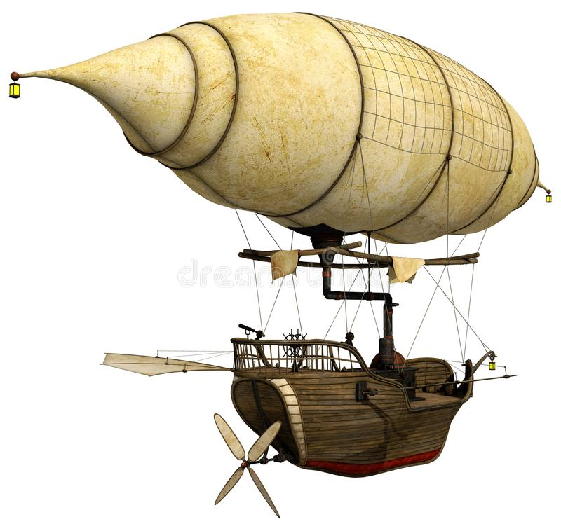 Steampunk flying ship with a lantern royalty free illustration