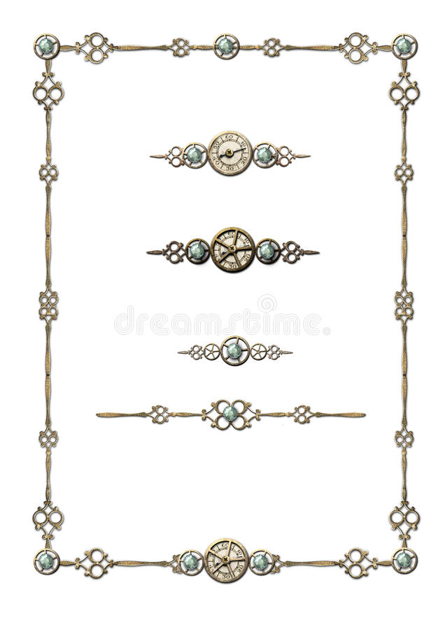 Steampunk Frame & selection of ornaments royalty free illustration