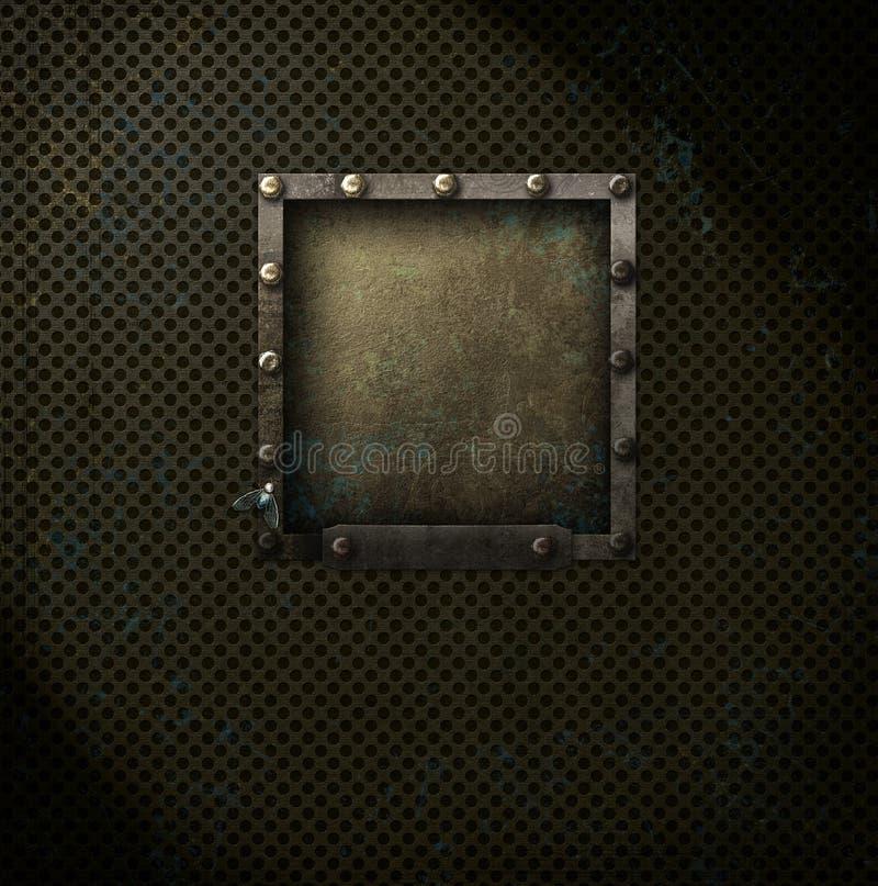 Steampunk fyrkant på metallingrepp arkivfoto