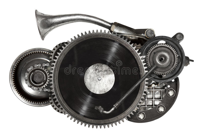 Steampunk gammal metallcollage av skivtallriken för vinylrekord arkivbilder