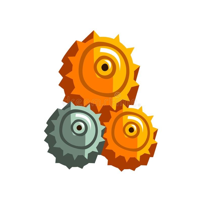 Steampunk gear wheels, antique vintage transmission cogwheels and gears vector Illustration on a white background. Steampunk gear wheels, antique vintage royalty free illustration