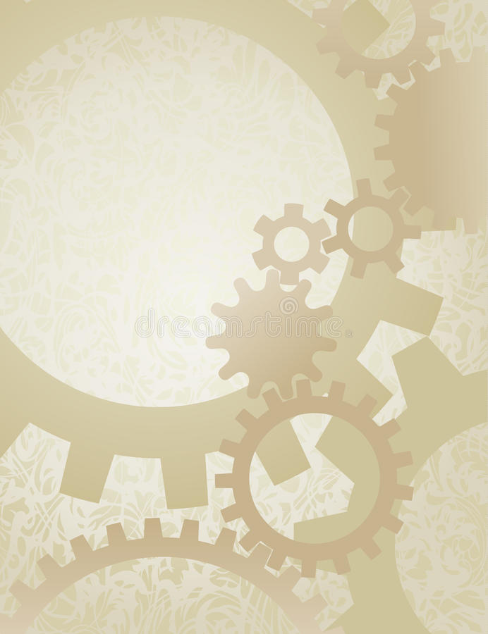 Steampunk Gears Background on Parchment royalty free illustration