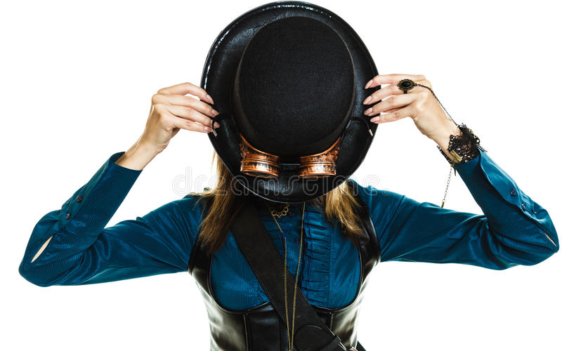 Steampunk girl with hat. royalty free stock photography