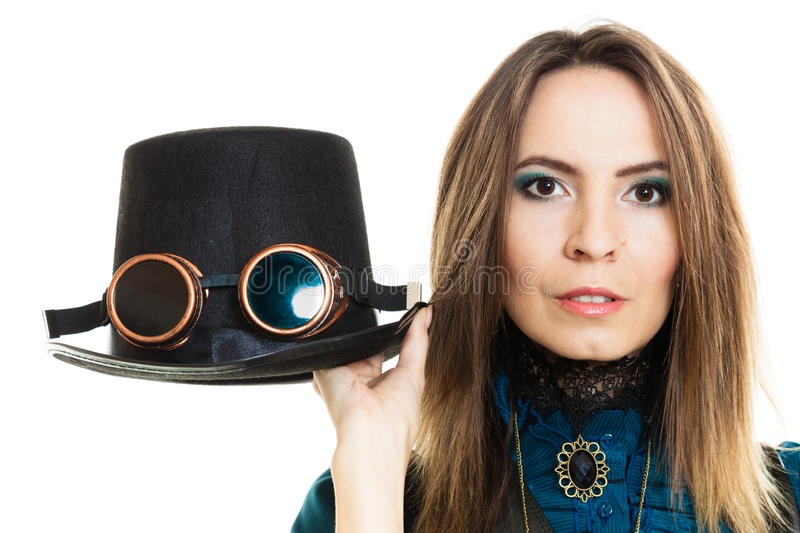 Steampunk girl with hat. stock images