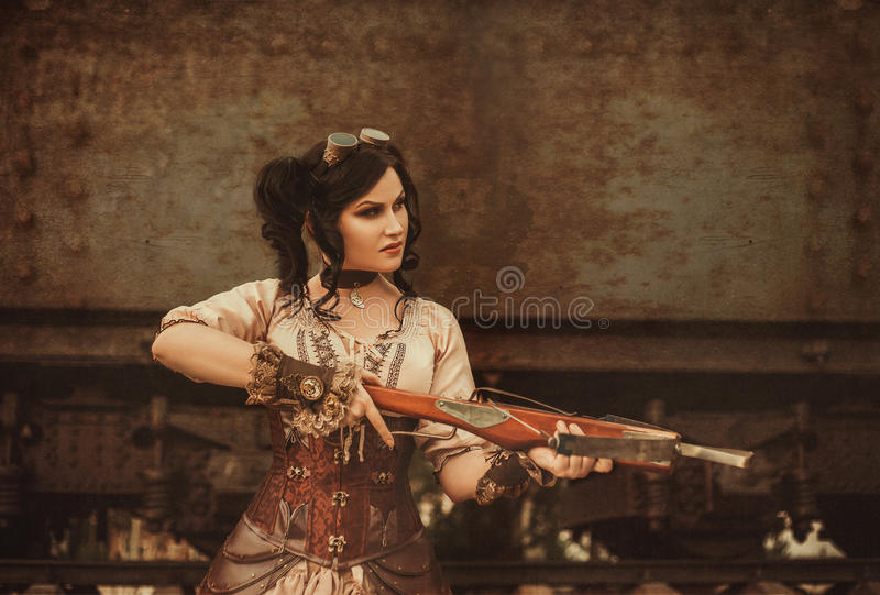 Steampunk girl stock photography