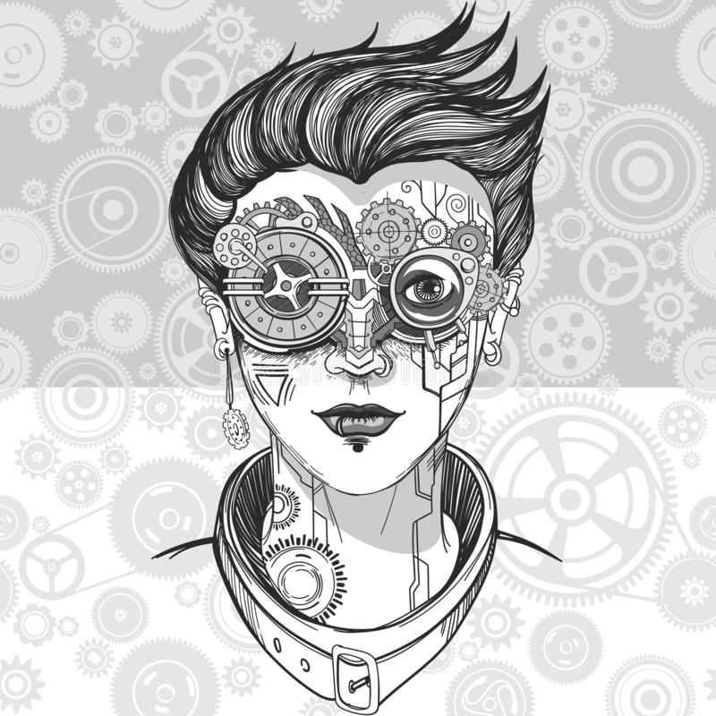 Steampunk girl illustration stock photography