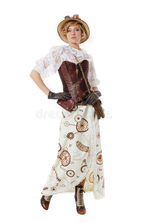 Steampunk girl. Isolated on white background stock photo