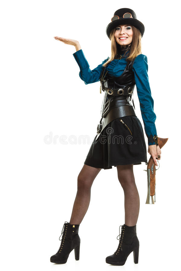 Steampunk girl with rifle. royalty free stock photography