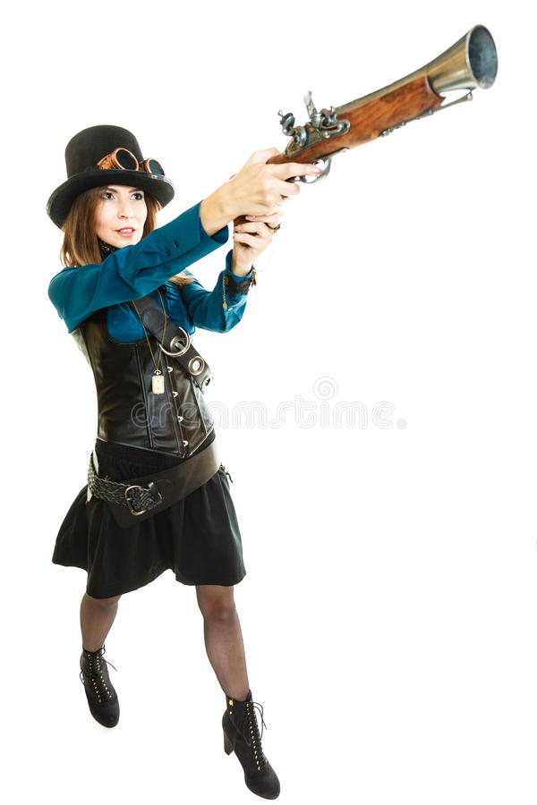 Steampunk girl with rifle. stock photos