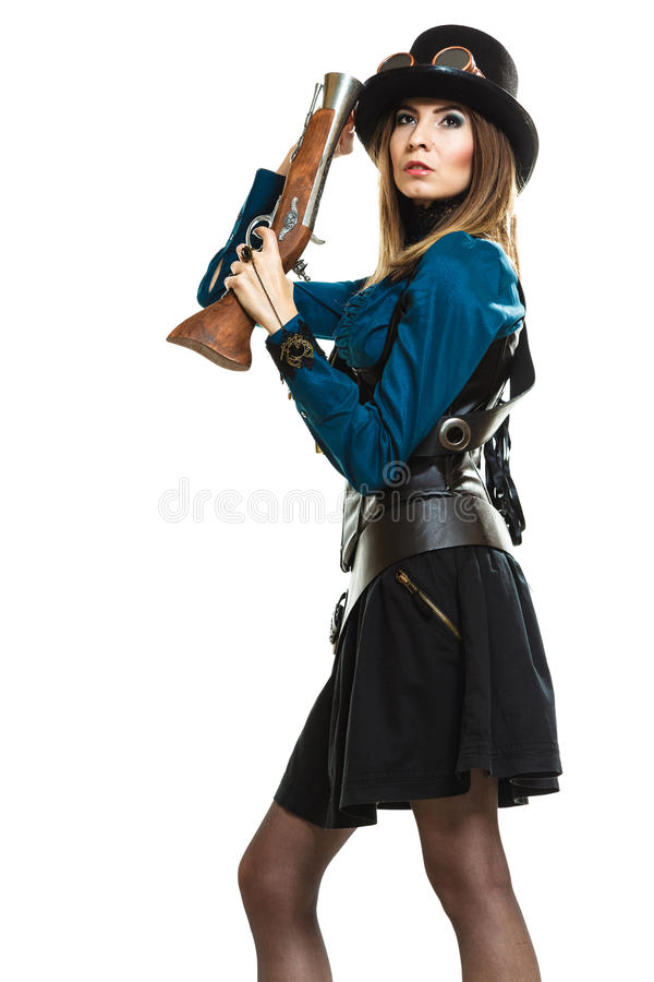Steampunk girl with rifle. stock photography