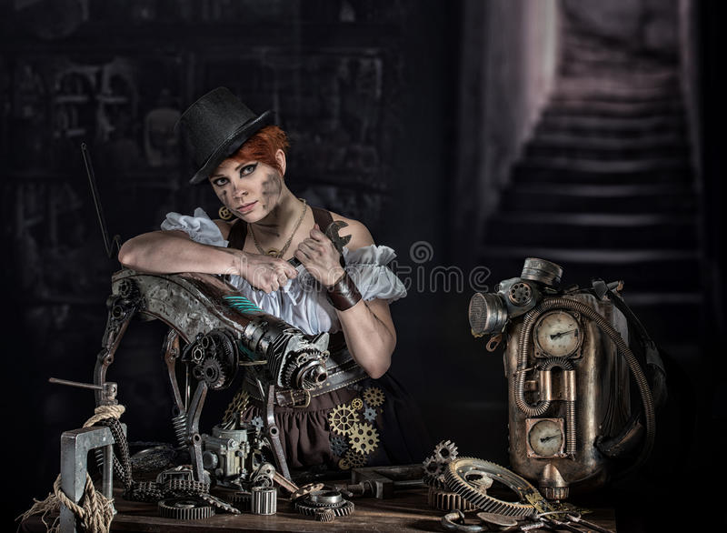 Steampunk girl. Steam-punk girl with her mechanical pet royalty free stock image