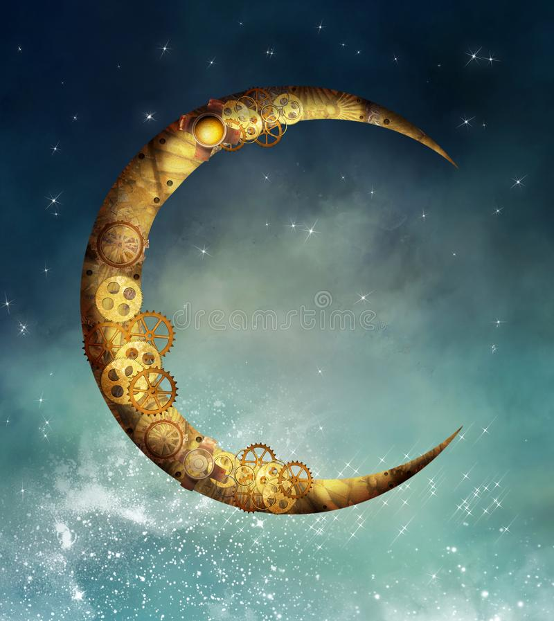 Steampunk golden moon in a starry sky royalty free illustration