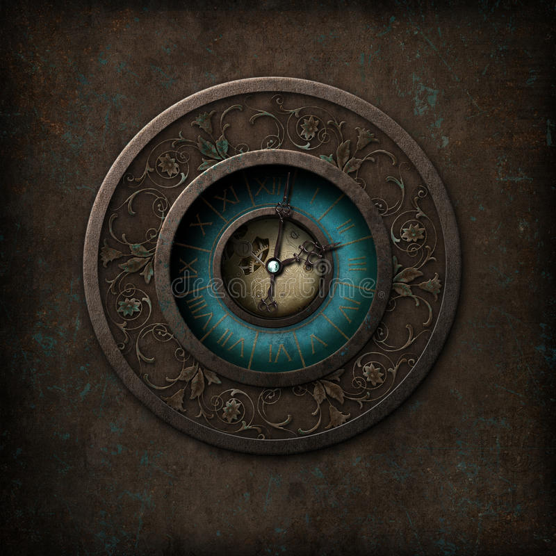 Steampunk Gothic Clock. Steampunk/gothic syled clock on a grungy background stock illustration