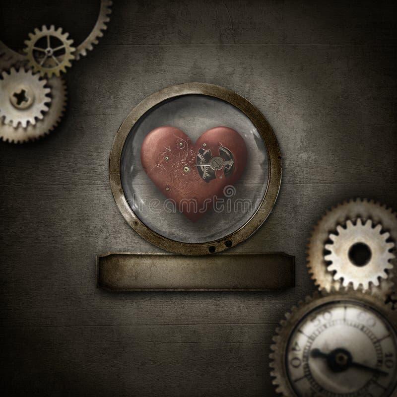 Steampunk gräns med hjärta i den glass kupolen fotografering för bildbyråer