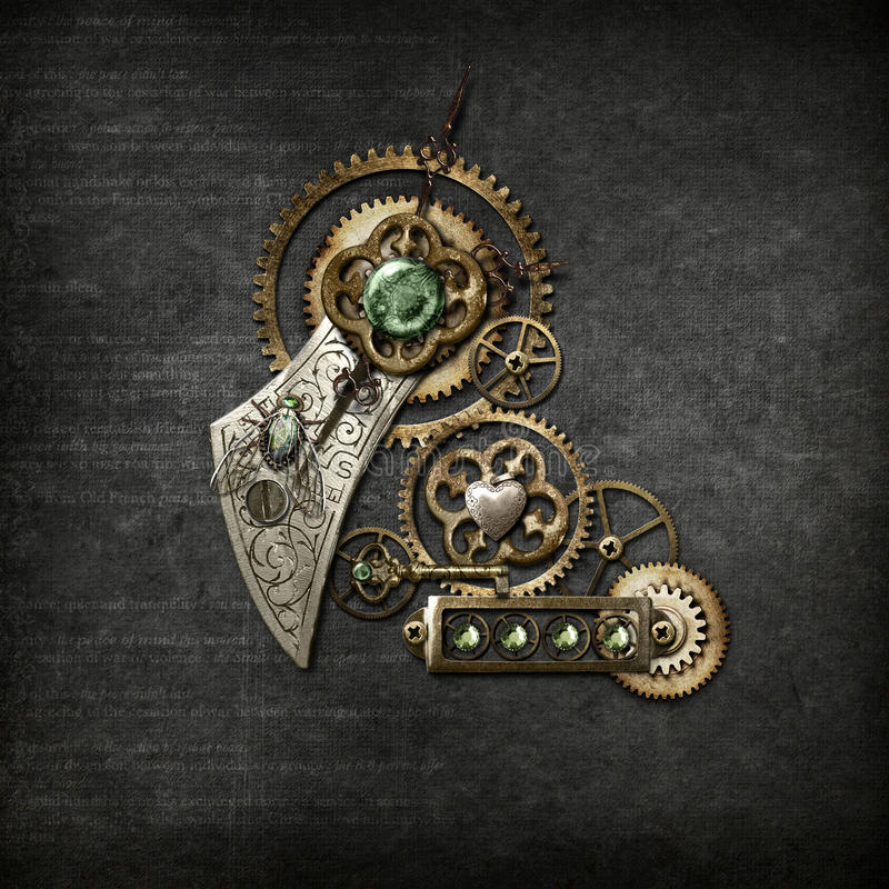 Steampunk on Grey. Collection of steampunk cogs & gears on dark grey background