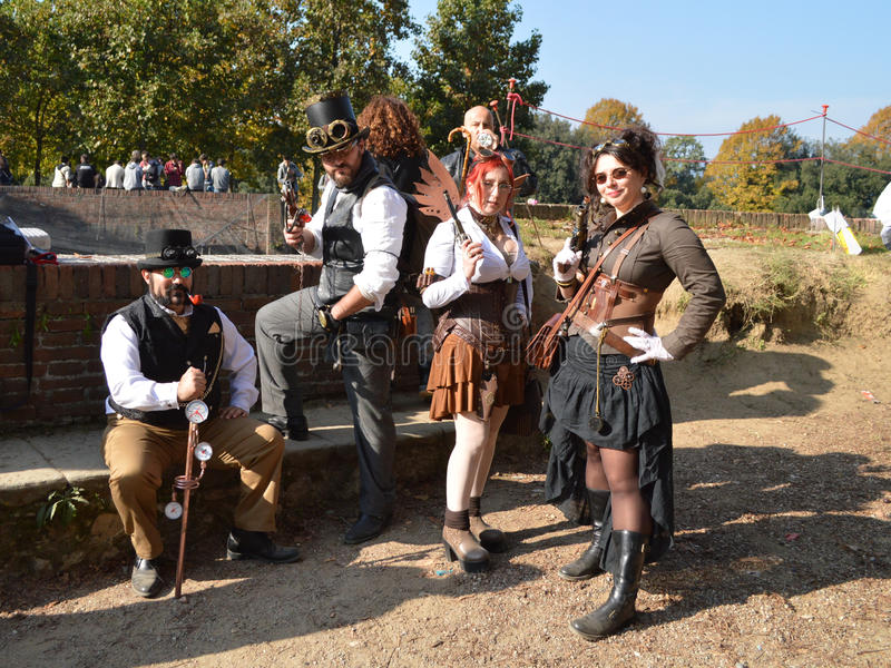 Steampunk group at Lucca Comics and Games 2014 royalty free stock image