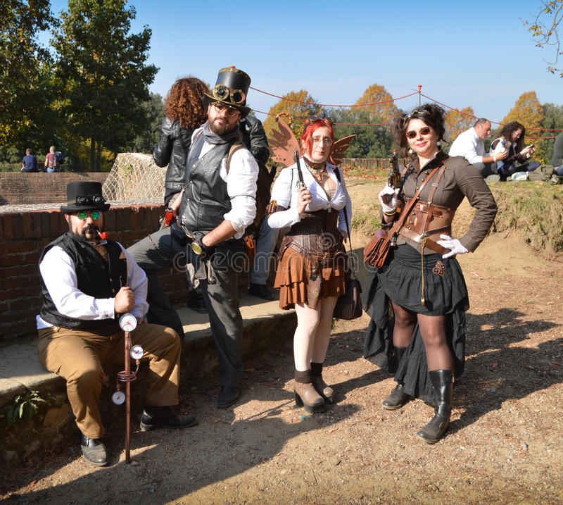Steampunk group at Lucca Comics and Games 2014 stock images