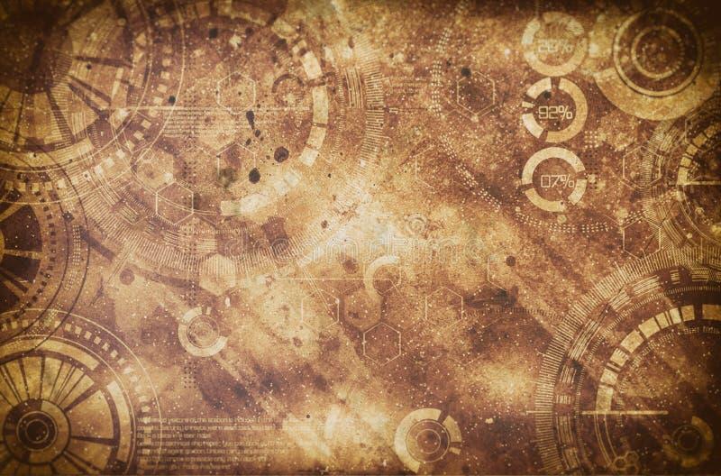 Steampunk grungebakgrund, ångapunkrockbeståndsdelar på smutsigt tillbaka arkivbild