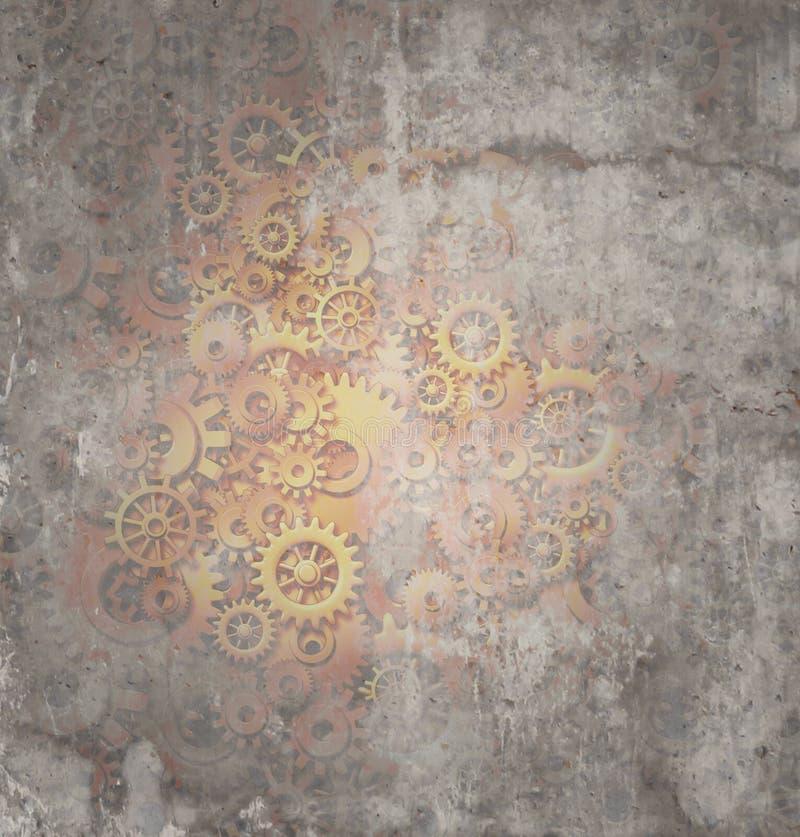Steampunk Grungebakgrund stock illustrationer
