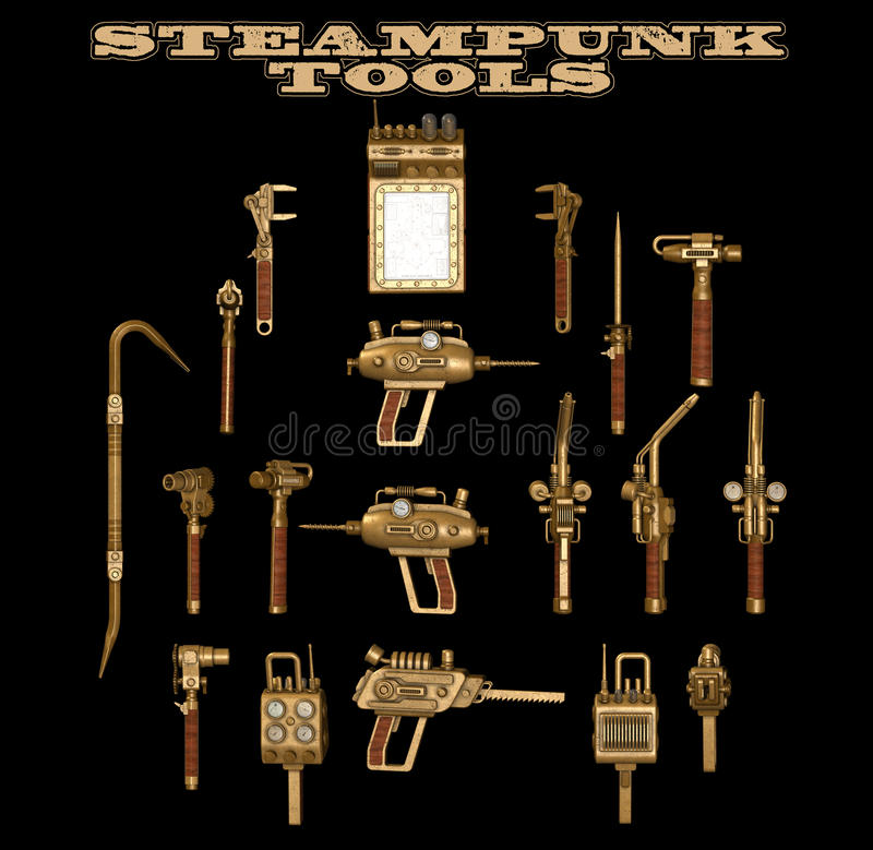 Steampunk hand tools. Steampunk genre hand tools isolated against a black background