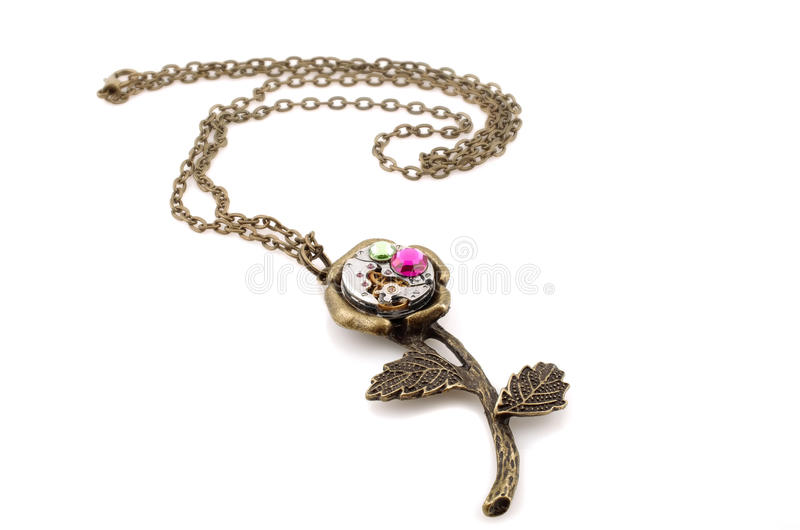 Steampunk handcrafted pendant royalty free stock photo