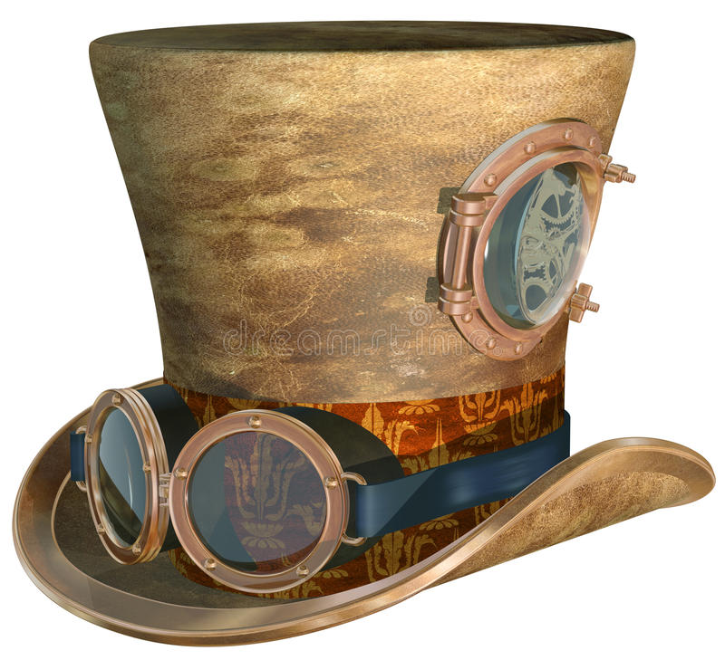 Steampunk hatt och Goggles royaltyfri illustrationer