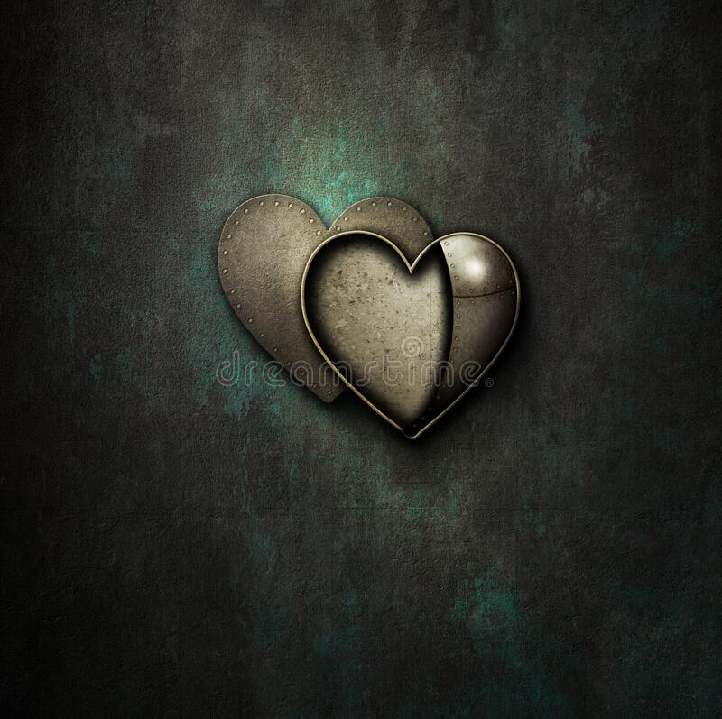 Free Steampunk Heart Locket Empty On Grunge Background Royalty Free Stock Images - 206436579