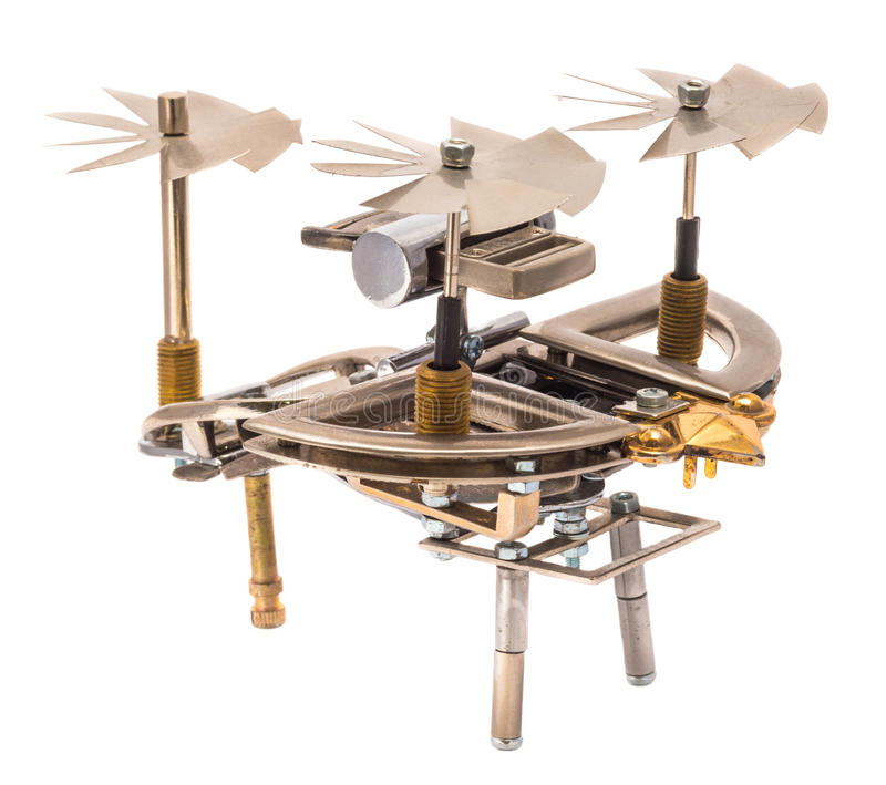 Steampunk helicopter. stock image