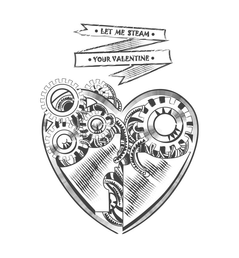 Steampunk hipster vector drawing Valentine heart art element for card, site vector illustration