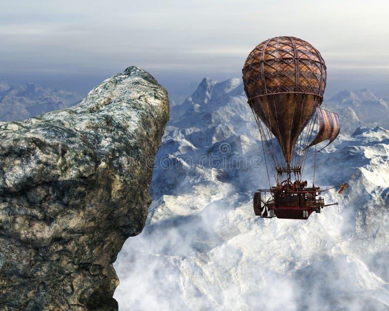 Steampunk Hot Air Balloon Background stock photos