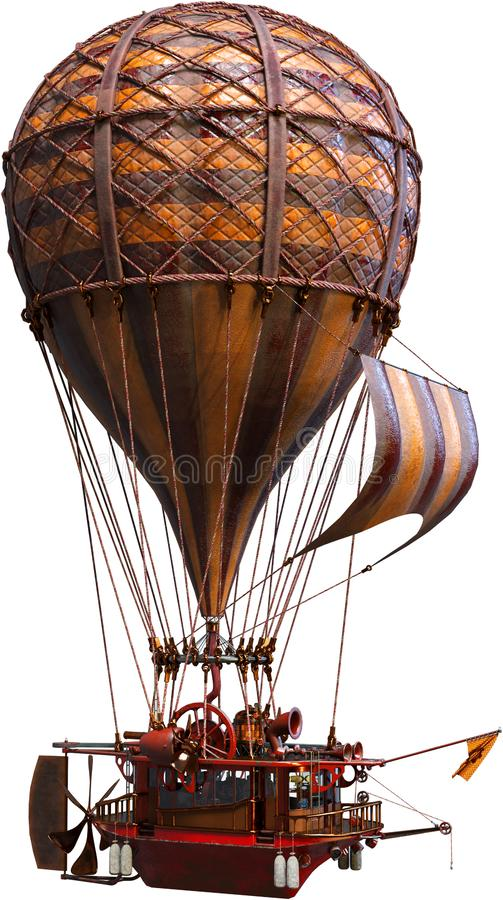 Steampunk Hot Air Balloon, Isolated, Airship. Steampunk hot air balloon airship. The sailing vessel runs on vintage retro technology and flies through the sky stock image