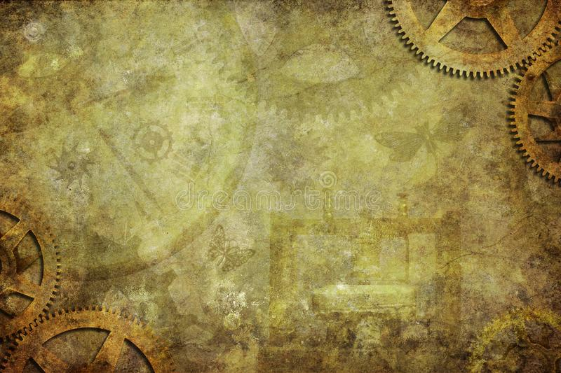 Steampunk Industrial Background. With clock cogs in the corners stock image