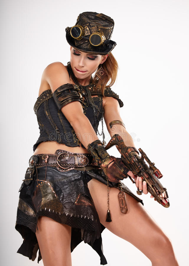Free Steampunk Isolated Woman. Royalty Free Stock Photo - 43175695