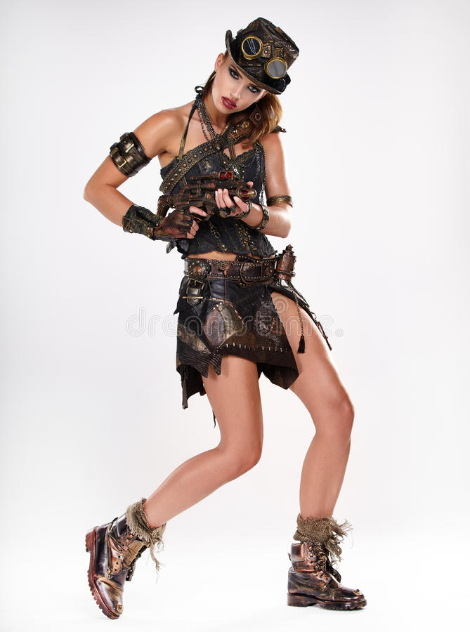Steampunk isolated woman. stock photo