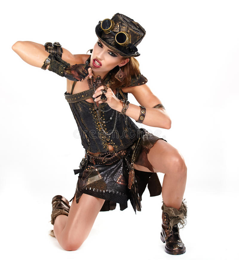 Steampunk isolated woman. royalty free stock image