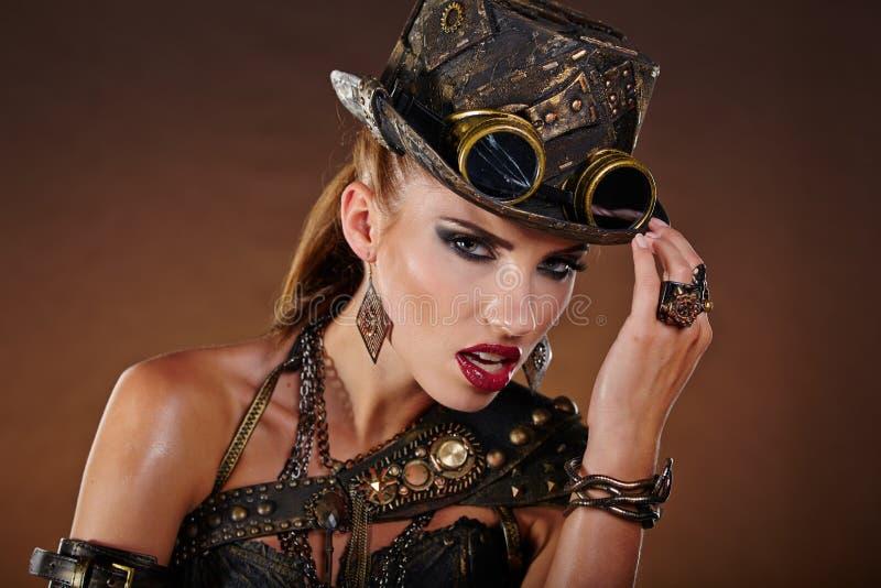Steampunk Kobieta Fantazi moda obraz stock