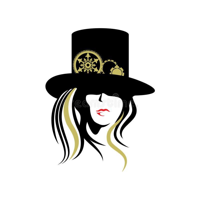 Steampunk kobiety kapeluszowe ilustracja wektor