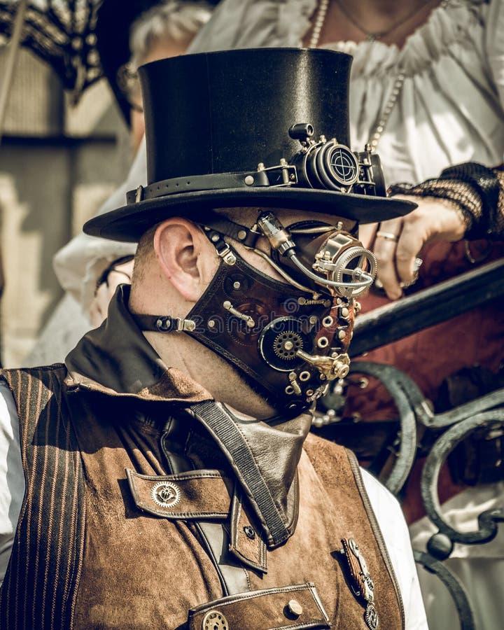 Steampunk konwencji Jeden mężczyzna obrazy royalty free