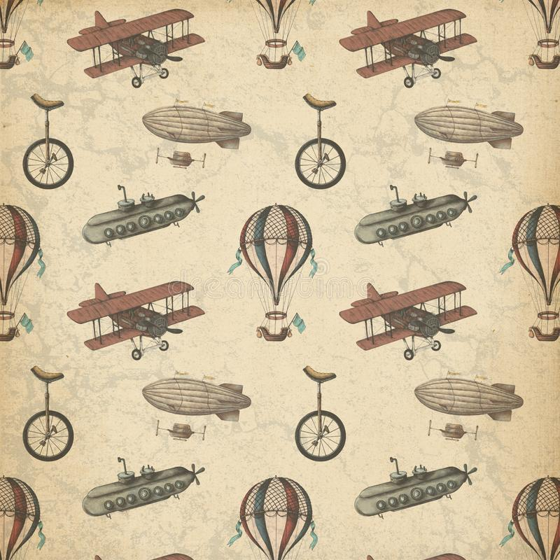 Steampunk kopierte Papier - Luftschiffe - Flächen - Unicycle - wunderliches Steampunk - Weinlese lizenzfreie abbildung