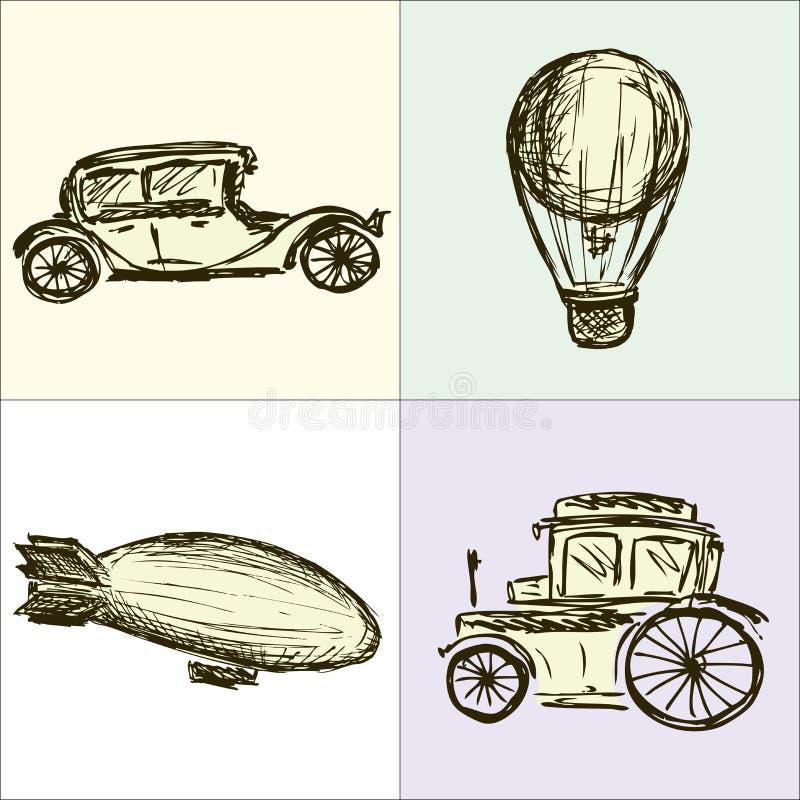 Steampunk kugghjul, maskin, luftskepp, ballong stock illustrationer