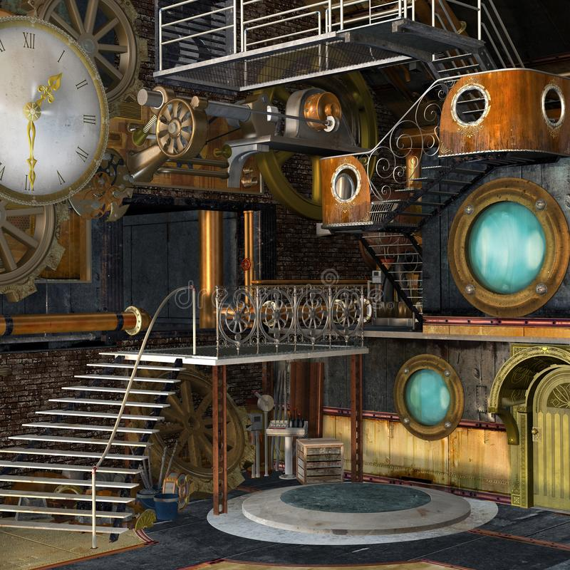 Steampunk laboratory with a big golden clock royalty free illustration