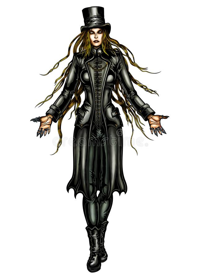 Steampunk lady necromancer. Illustraton sinister woman in a fantasy victorian outfit. She is stretching hands forward. Comics style stock illustration