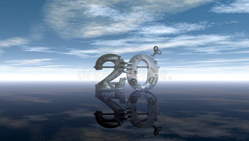 Steampunk liczba dwadzieścia pod niebieskim niebem royalty ilustracja