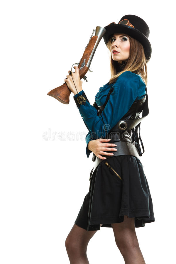 Steampunk-Mädchen mit Gewehr stockbilder