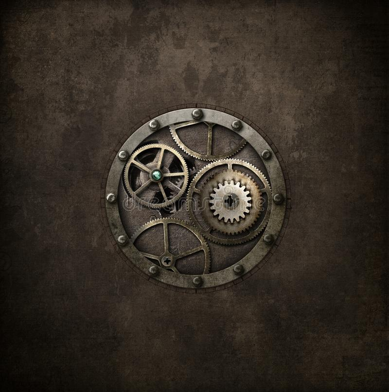 Steampunk machinery in circle royalty free stock photos