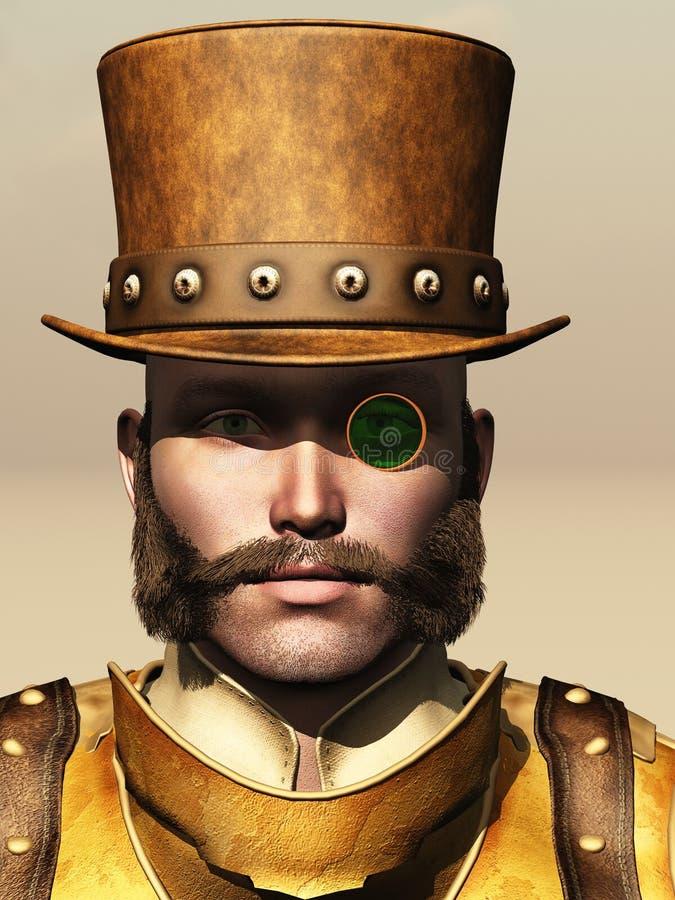 Steampunk mannelijk portret stock illustratie