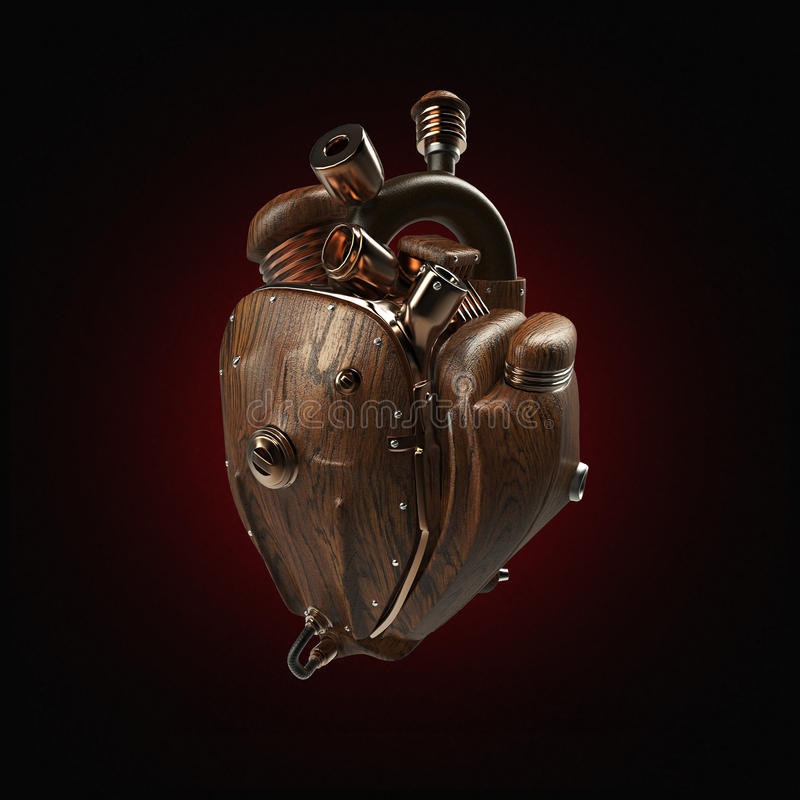 Steampunk mecha robot techno heart. engine with pipes, radiators and wooden hood parts. isolated stock images