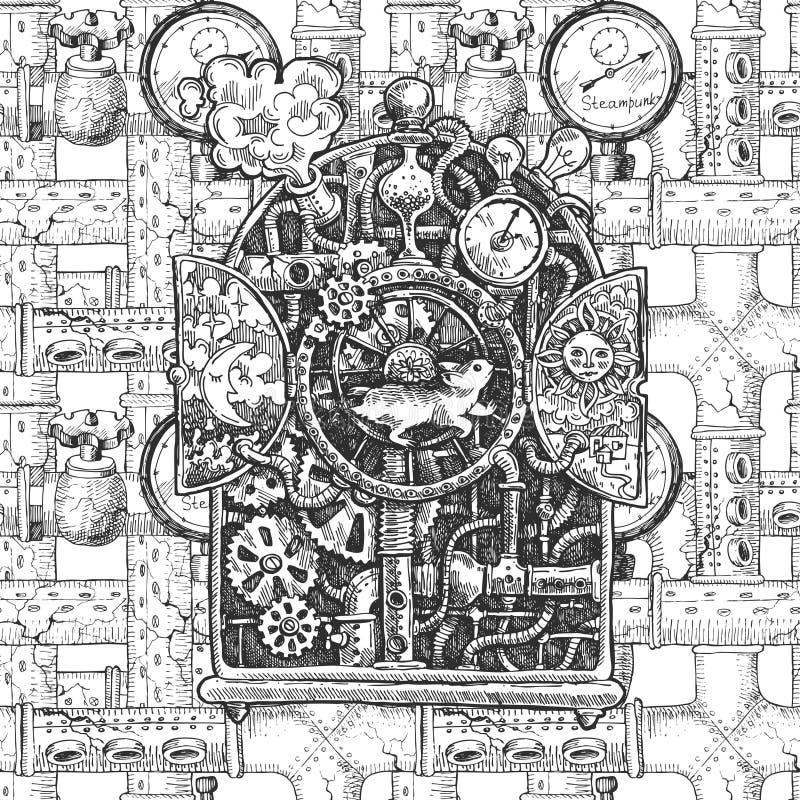 Steampunk-Mechanismusskizze stock abbildung