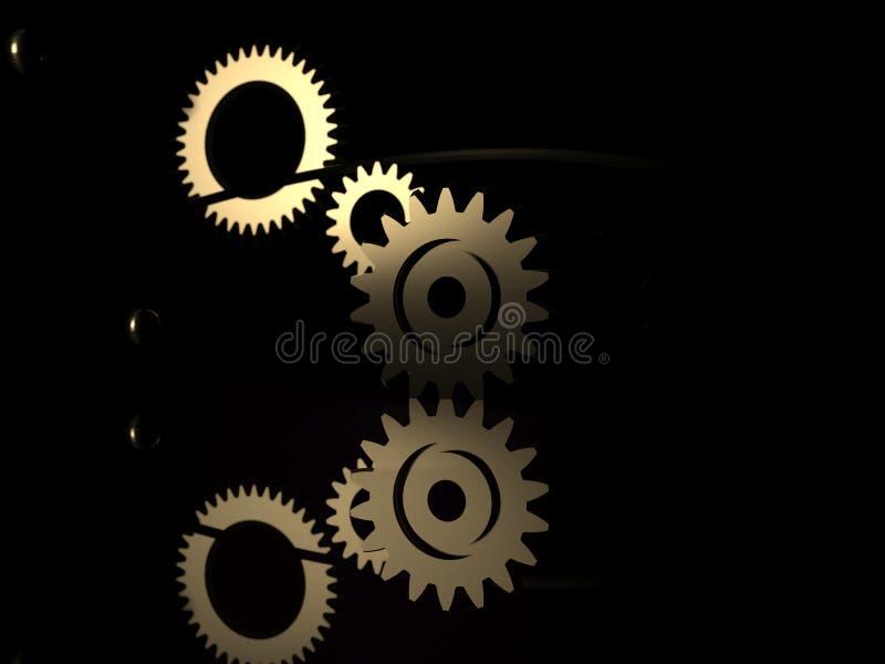 Steampunk mechanizm - 3d odp?acaj? si? ilustracj? Przek?adnie, lataj?ce metal sfery i z?oci?ci pier?cionki, ilustracja wektor