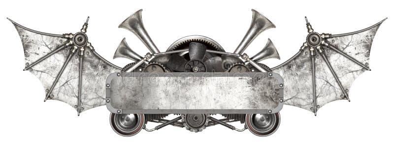 Steampunk-Metallrahmen und altes Selbstersatzteilauto lizenzfreie abbildung